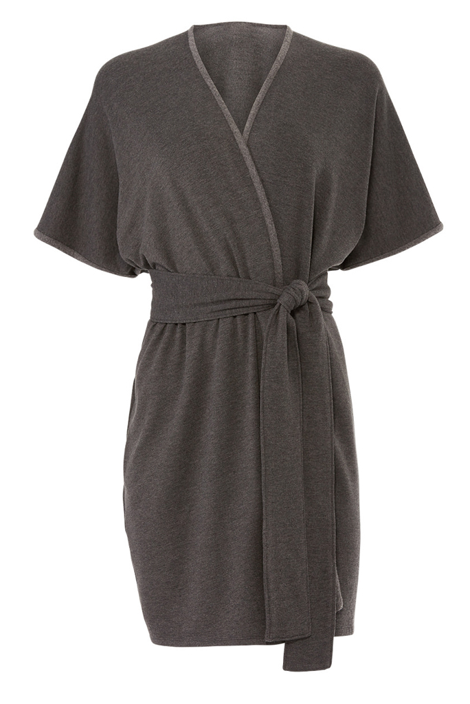 Josie Natori Anthracite Brushed Wrap Cardigan