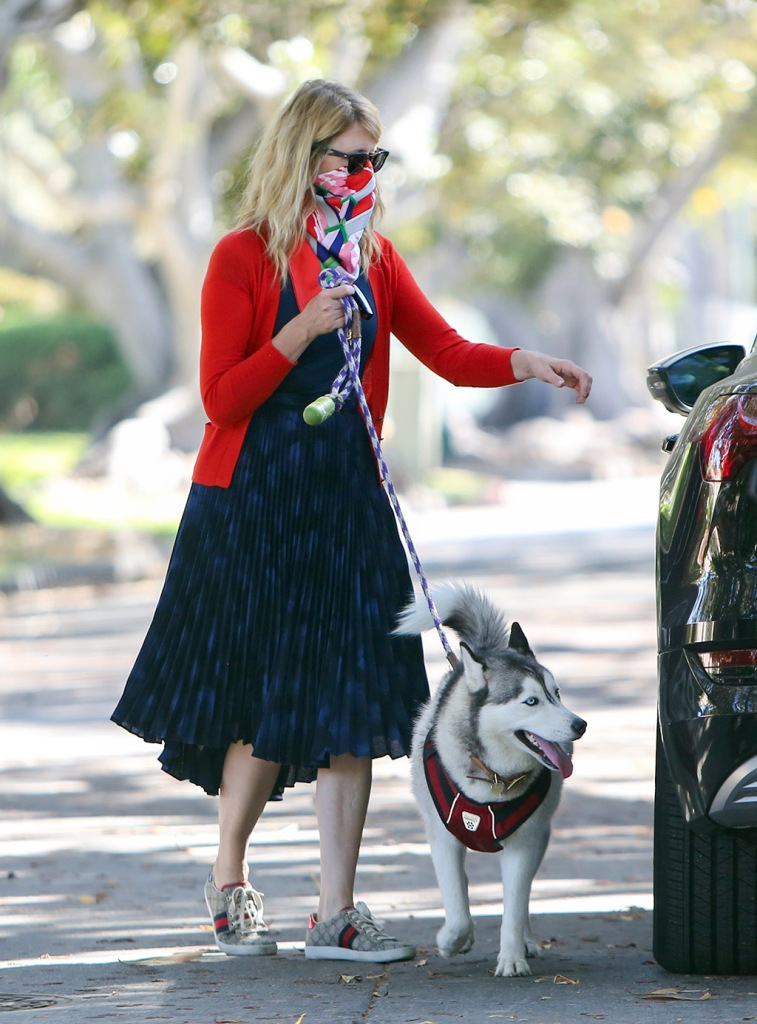 Laura Dern, gucci sneakers, street style, red cardigan, blue dress, celebrity fashion, Laura Dern out and about, Los Angeles, USA - 07 Jun 2020