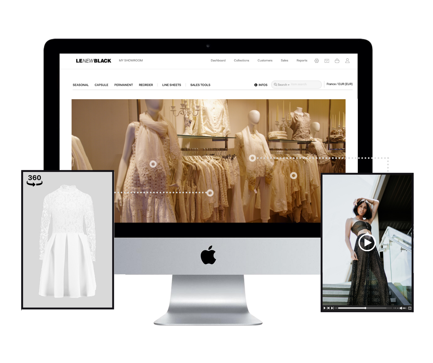 Desktop screen of Le New Black's virtual showroom platform