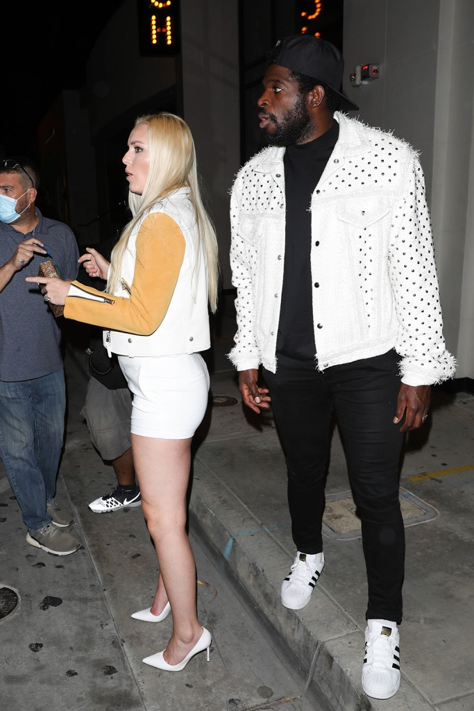 lindsey vonn, pk subban, celebrity style, street style, adidas superstar sneakers, Lindsay Vonn and boyfriend P.K. Subban are both spotted leaving dinner at Catch. 14 Jun 2020 Pictured: Lindsey Vonn. Photo credit: 007 / PhotoGroup/ MEGA TheMegaAgency.com +1 888 505 6342 (Mega Agency TagID: MEGA680401_003.jpg) [Photo via Mega Agency]