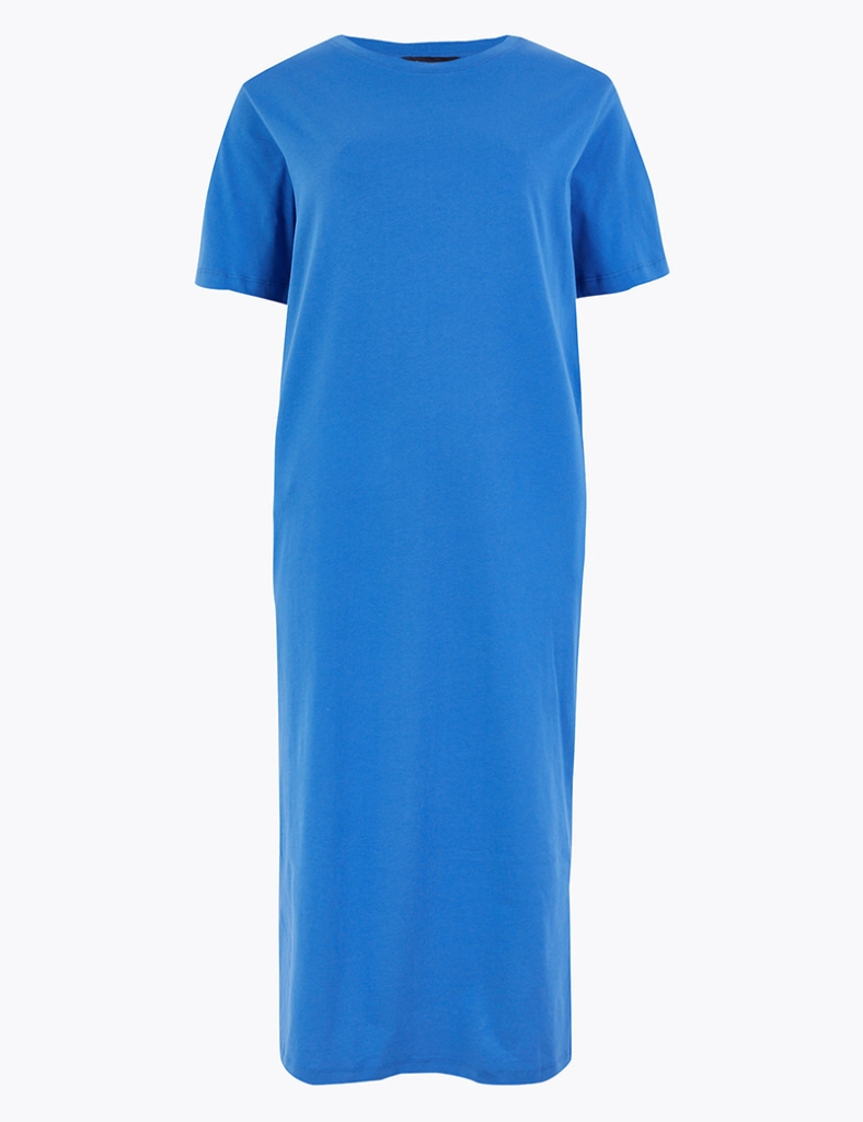 marks & spencer, blue dress