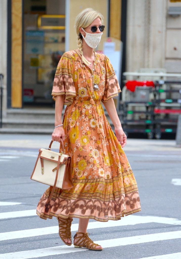 nicky hilton, dress, sandals, husband, floral, mask, new york, james rothschild