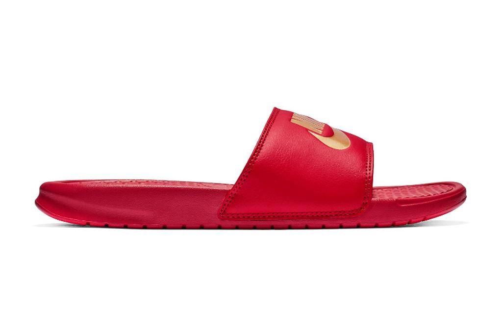 nike, benassi, slides, red