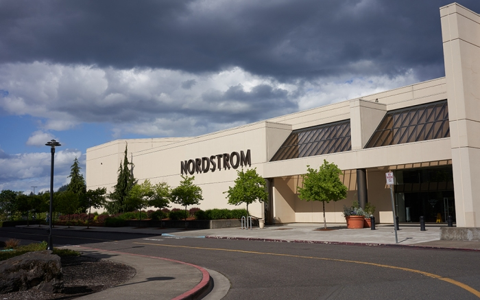 Clackamas, OR, USA - May 6, 2020: Closed Nordstrom department store in Clackamas, Oregon, during the coronavirus crisis.; Shutterstock ID 1725096835; Usage (Print, Web, Both): Web; Issue Date: 06/22/20