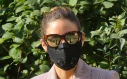 olivia palermo, style, dress, blazer, mask,