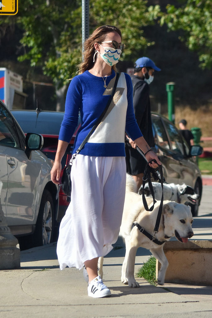 Olivia Wilde, adidas superstar sneakers, street style, summer style, white skirt, sweater, mask, sunglasses, Olivia Wilde out and about, Los Angeles, USA - 07 Jun 2020