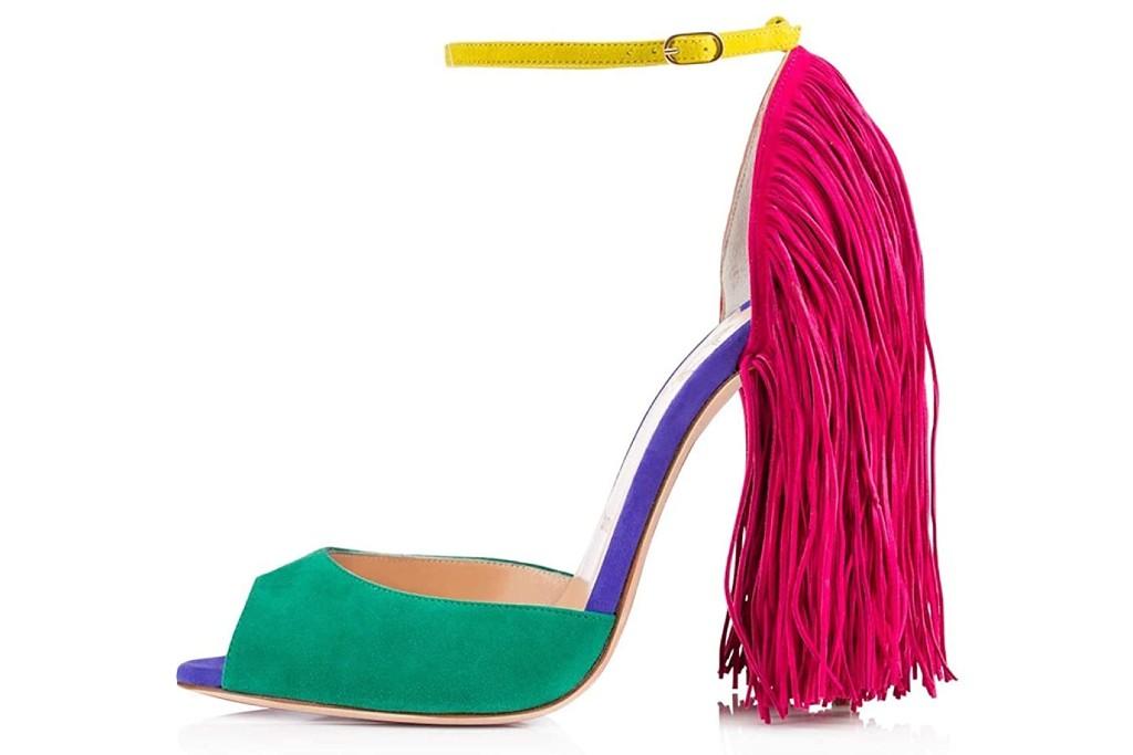 onlymaker fringe peep toe heels