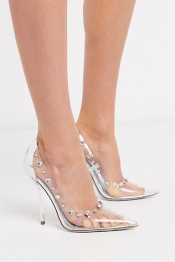 ASOS DESIGN, Prince pointed embellished pumps, clear and silver, cinderella shoes