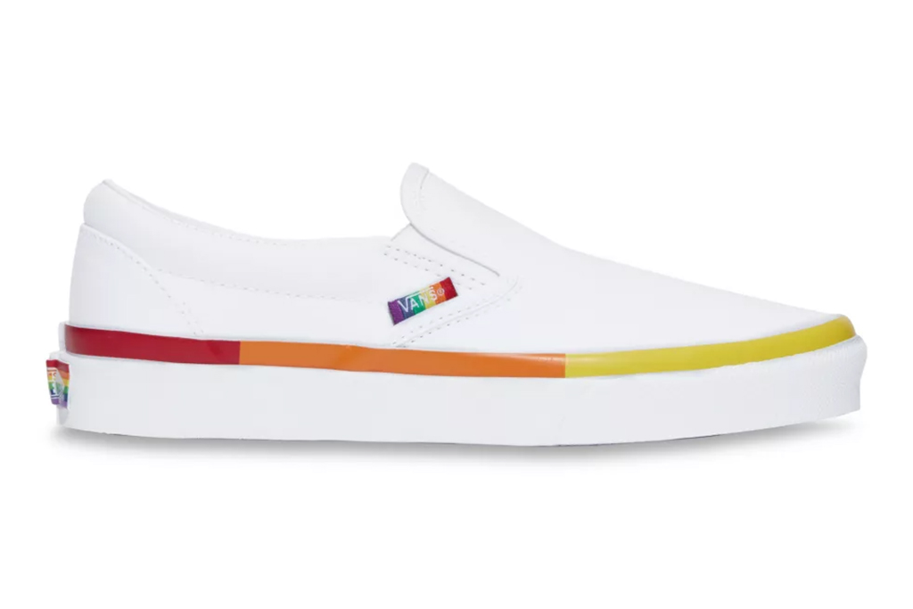 rainbow vans, slip-on shoes, shoes for pride