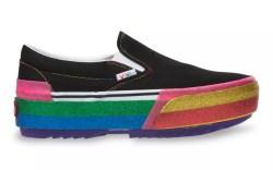 rainbow vans, vans slip ons, shoes