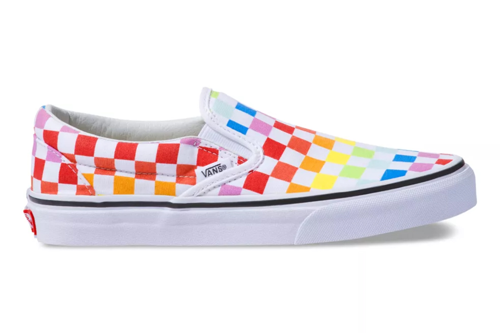 rainbow vans, slip on shoes, shoes for pride