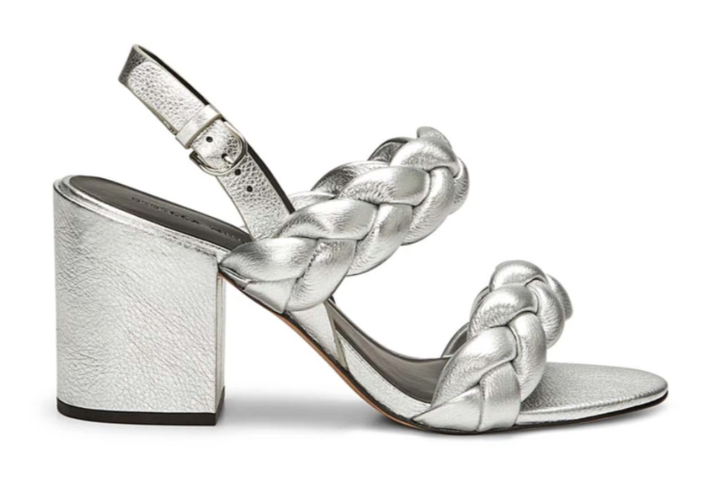 rebecca minkoff, sandals, silver, heel