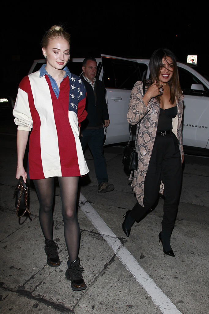 Sophie Turner and Priyanka Chopra girls night out at Craig's in West Hollywood.Sophie Turner outfit - Top – Tommy Hilfiger Bag – Louis Vuitton Shoes – Louis Vuitton Pictured: Sophie Turner,Priyanka Chopra Ref: SPL5057371 220119 NON-EXCLUSIVE Picture by: SplashNews.com Splash News and Pictures USA: +1 310-525-5808 London: +44 (0)20 8126 1009 Berlin: +49 175 3764 166 photodesk@splashnews.com World Rights