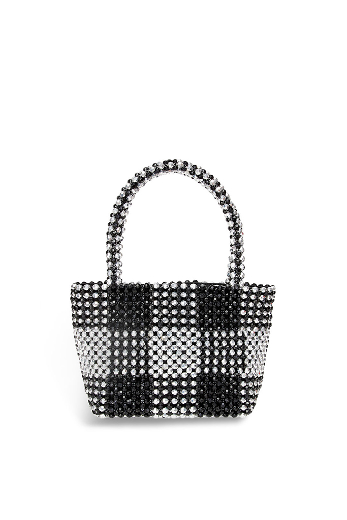 Loeffler Randall ADD TO HEARTS Black and Silver Mina Beaded Mini Tote, rent the runway, sample sale