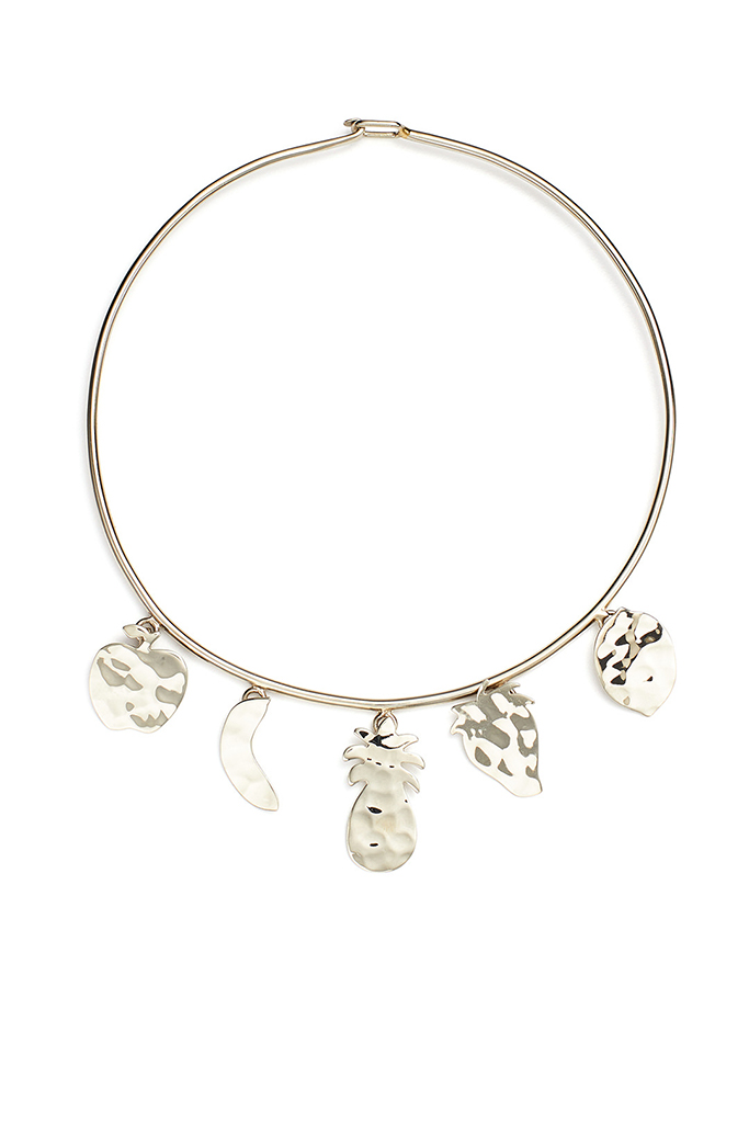 fruit charm choker, rent the runway, sample sale
