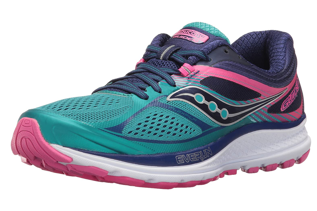 saucony, running shoes, blue pink