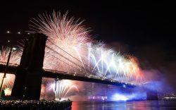 Fireworks light up the sky above