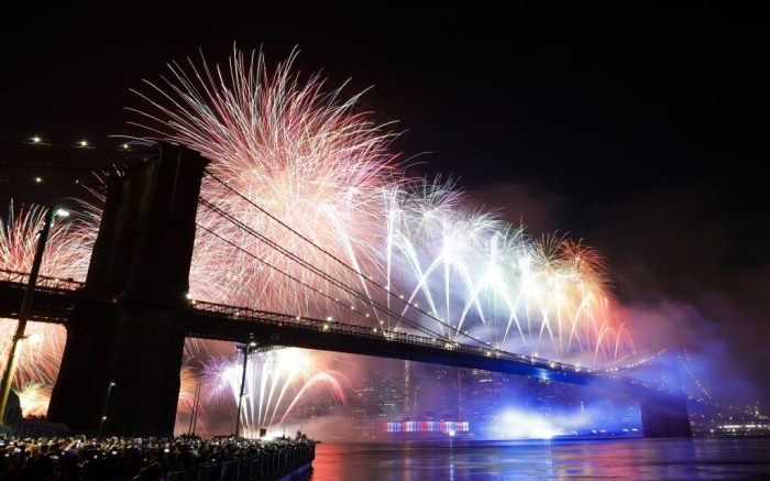 Fireworks light up the sky above the Brooklyn Bridge during Macy's Fourth of July fireworks show, in New YorkJuly Fourth , New York, USA - 04 Jul 2019