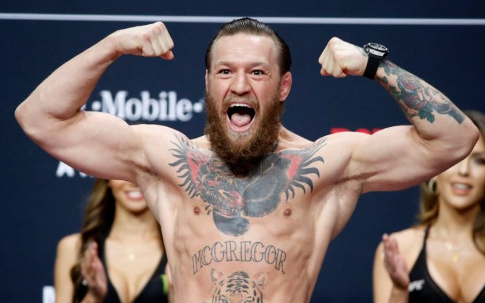"Conor McGregor poses during a ceremonial weigh-in for the UFC 246 mixed martial arts bout, in Las Vegas. McGregor is scheduled to fight Donald ""Cowboy"" Cerrone in a welterweight bout Saturday in Las VegasUFC 246 Mixed Martial Arts, Las Vegas, USA - 17 Jan 2020"