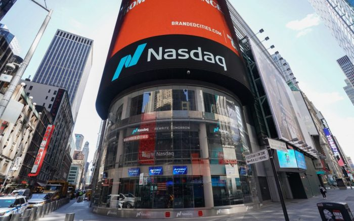The Nasdaq Marketsite in Times Square, in New York, New York, USA, 24 March 2020. Countries around the world are taking increased measures to stem the widespread of the SARS-CoV-2 coronavirus which causes the Covid-19 disease.Nasdaq Marketsite, New York, Usa - 24 Mar 2020