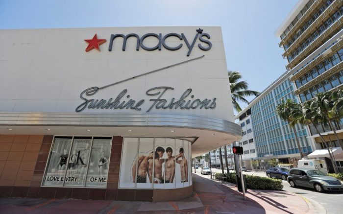 Macy's department store is closed, in Miami Beach, Fla. Macy's announced that they would furlough a majority of their 130,000 workers after their stores closed due to the virus outbreakVirus Outbreak Macy's Furloughs, Miami Beach, United States - 30 Mar 2020