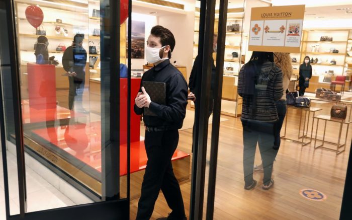 The Louis Vuitton store opens for customers at the Galleria Dallas shopping mall in Dallas, . This is the first time this mall has opened amid the concerns of the spread of COVID-19Virus Outbreak Texas, Dallas, United States - 04 May 2020