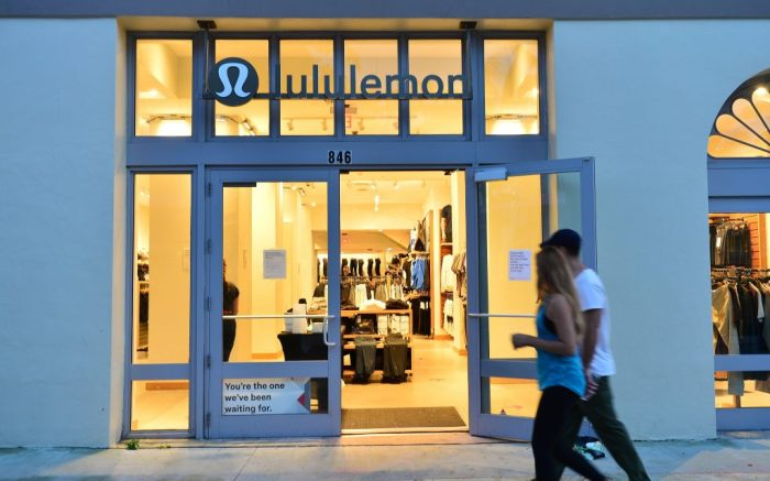 A general view of a LULUlemon store open as customer given face mask and hand sanitizer before enter. as people are seen going about their daily activities as restaurant expand onto the Ocean Drive roadway in accordance with phase one reopening during the Coronavirus outbreakCoronavirus outbreak, Miami, Florida, USA - 28 May 2020