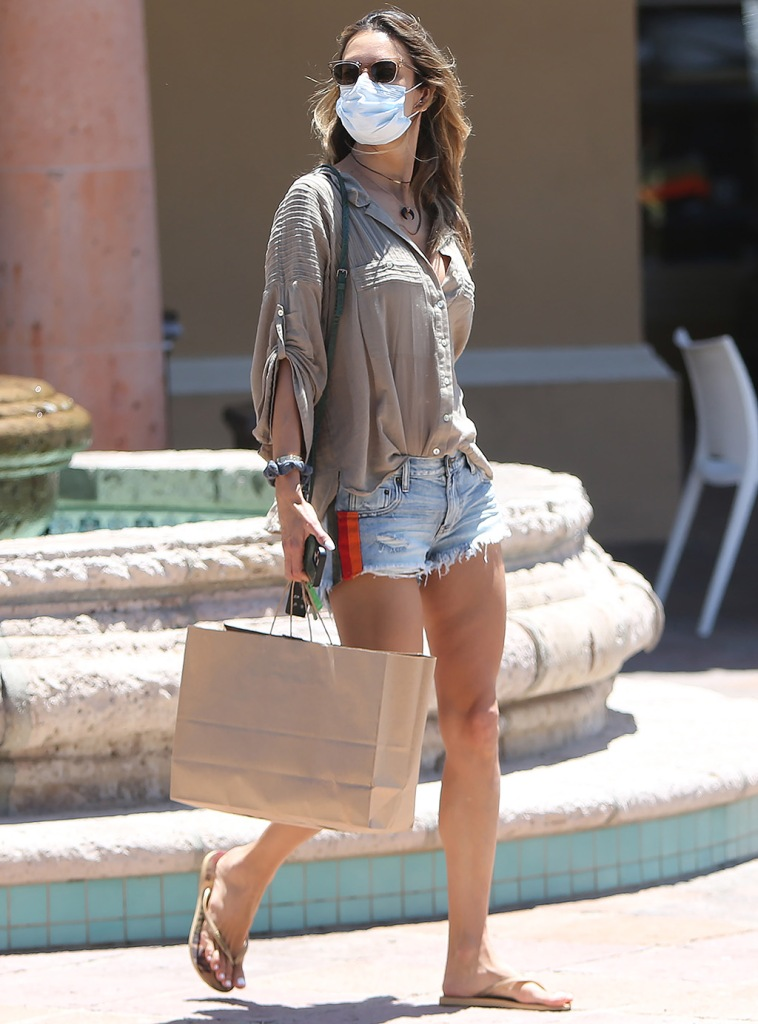 Alessandra Ambrosio, one teaspoon shorts, denimcutoffs, legs, havaianas, flip-flops, Alessandra Ambrosio out and about, Pacific Palisades, Los Angeles, California, USA - 10 Jun 2020