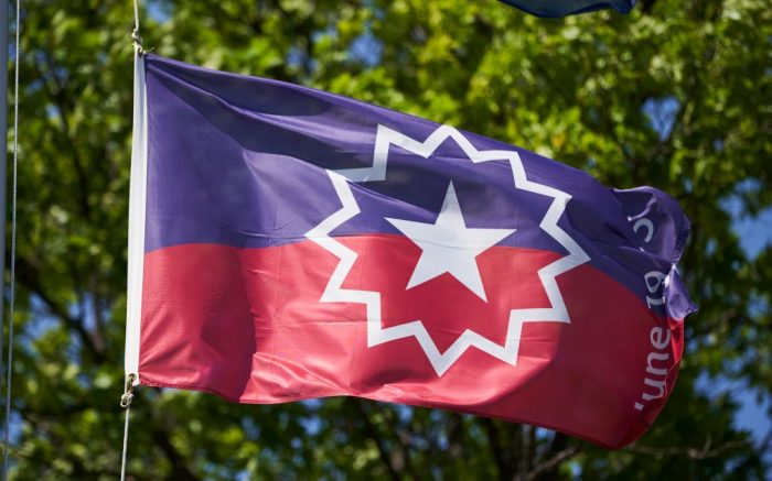 The Juneteenth flag, commemorating the day that slavery ended in the U.S., flies in Omaha, NebJuneteenth Flag, Omaha, United States - 17 Jun 2020
