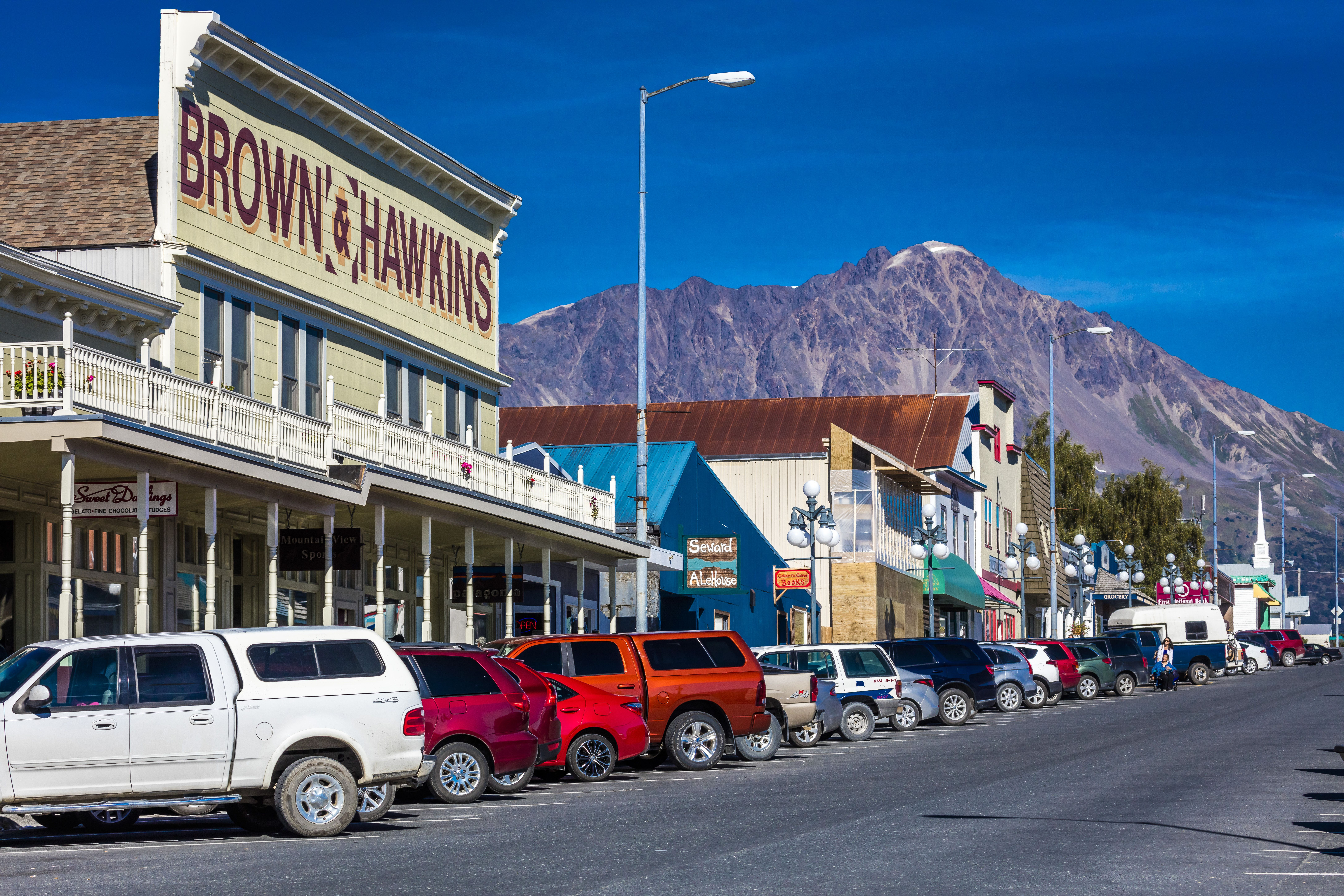 September 2, 2016 - Seward Alaska storefronts and small businesses on nice sunny day in AlaskaView of Seward, Alaska storefronts - 02 Sep 2016