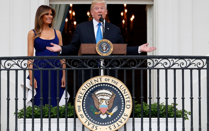 Donald Trump, Melania Trump President Donald Trump, with first lady Melania Trump, speaks from the Truman Balcony at the Fourth of July picnic for military families on the South Lawn of the White House, in WashingtonTrump, Washington, USA - 04 Jul 2017