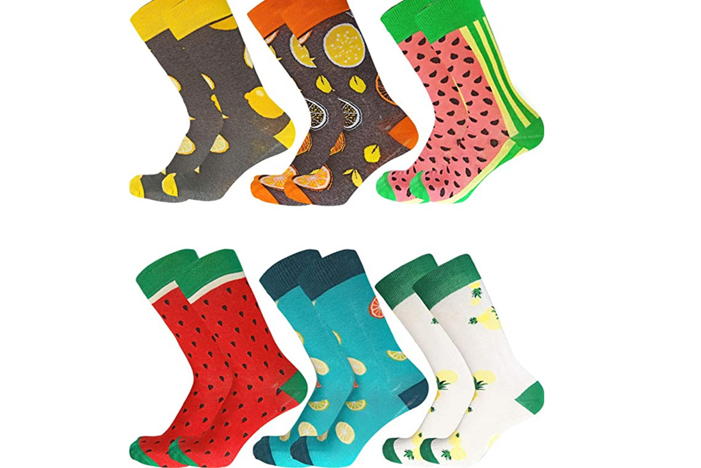 Men Multicolored Pattern Fashionable Fun Crew Cotton Socks Chanwazibibiliu Precious Peace Mens Colorful Dress Socks Funky
