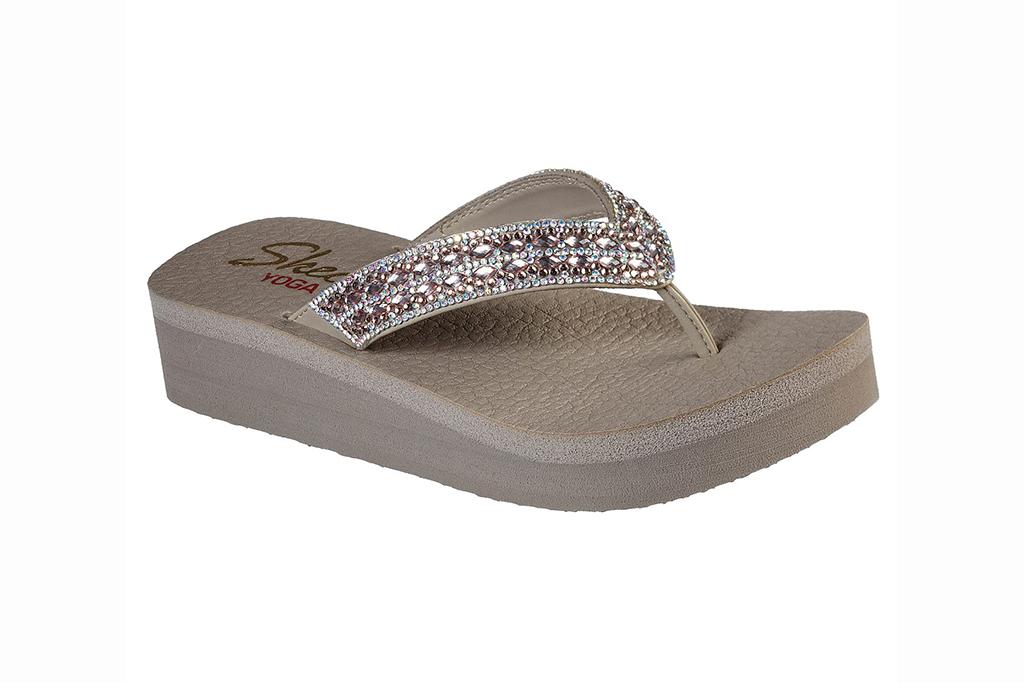 skechers sandal sale, skechers vinyasa flip flops, tan flip flops