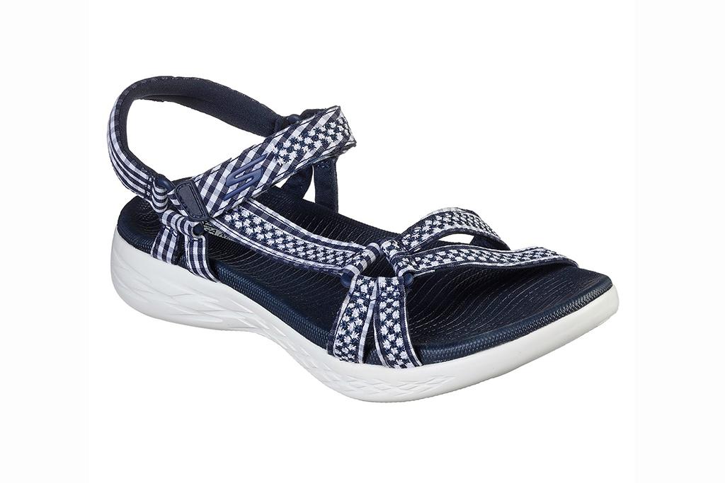 skechers sandal sale, skechers gingham sandals, skechers on the go