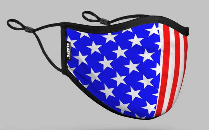 sleefs, face mask, american flag, red white and blue