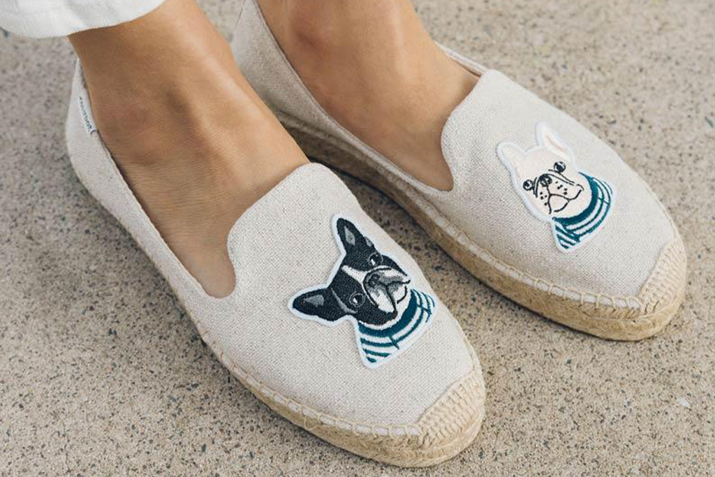 soludos, french bulldog, sneakers, sale