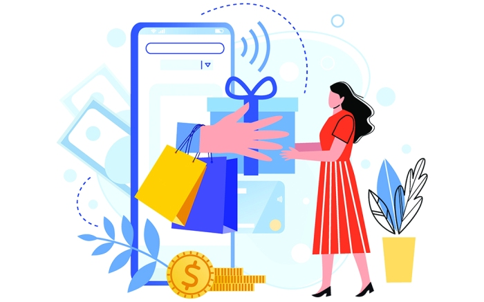 Online shopping. Internet market, mobile app shopping and people buy gifts. Smartphone payment and outfit sale flat  illustration set. E commerce concept. Customers faceless characters; Shutterstock ID 1675167235; Usage (Print, Web, Both): Print; Issue Date: 06/15/20