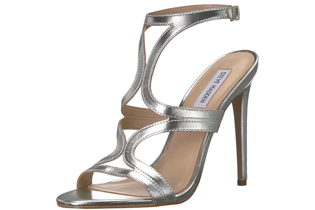 steve madden, silver sandals, stilettos