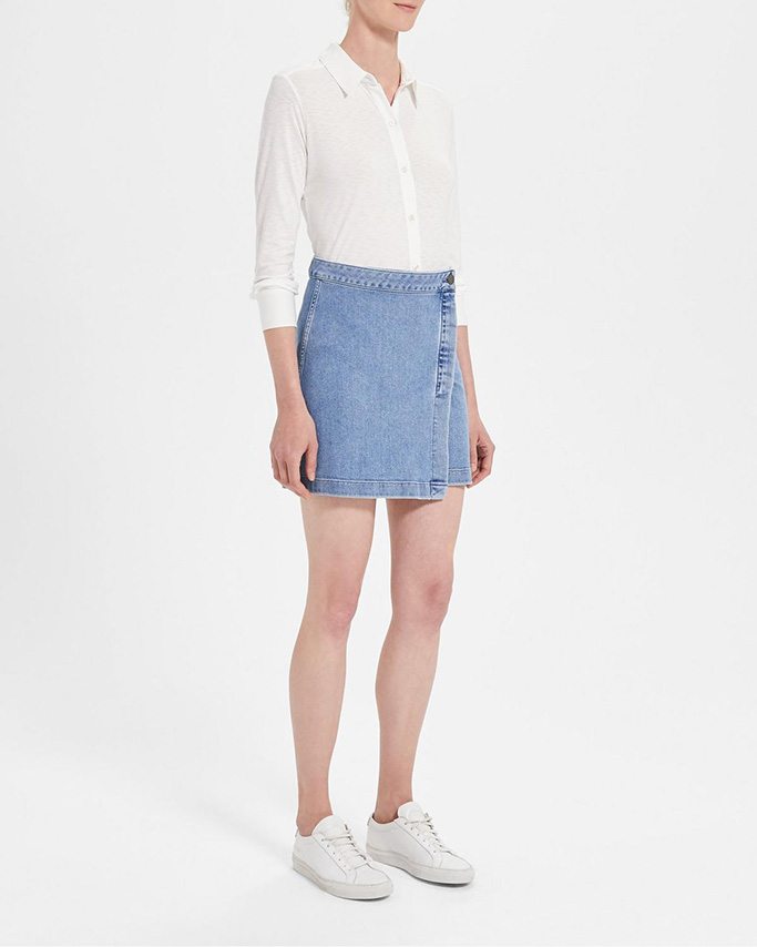 theory flash sale, denim skirt, theory skirt