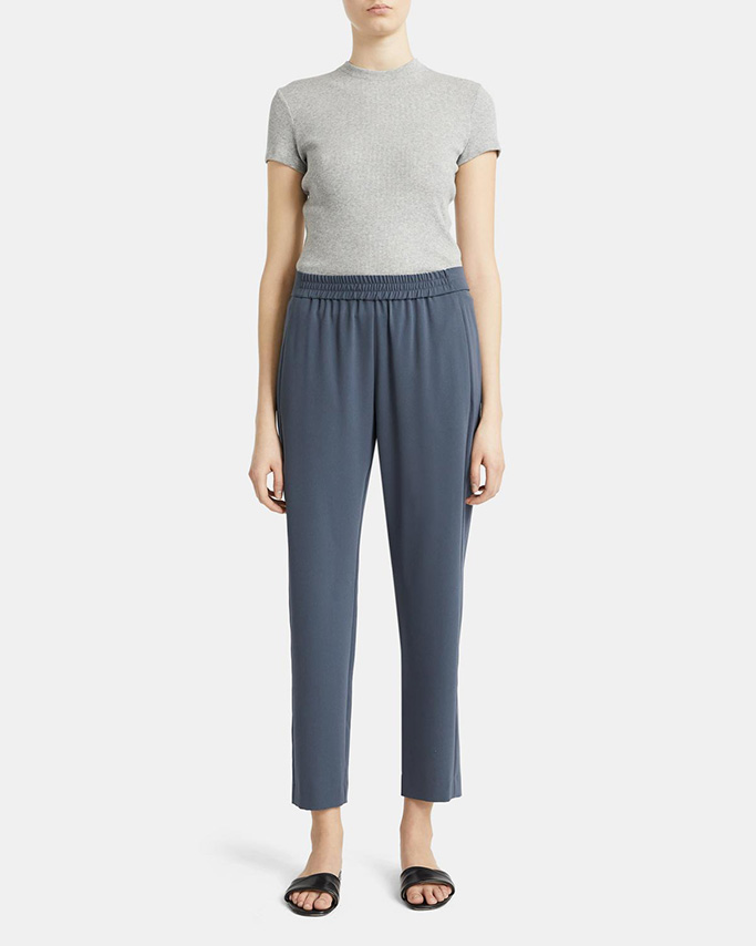 theory flash sale, theory crepe pant, luxury elastic waistband pant