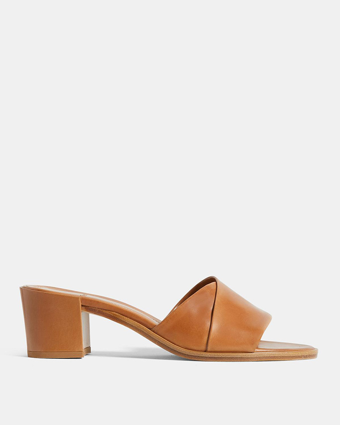 theory flash sale, theory leather heel, brown mid heel