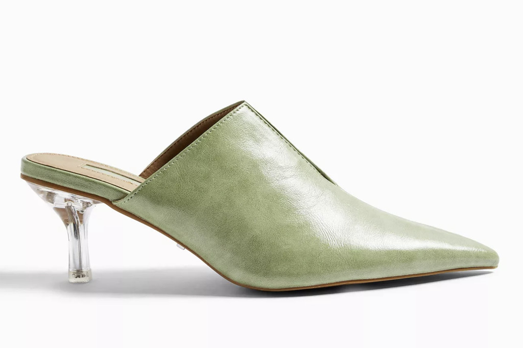 topshop shoe sale, topshop mules, sage colored mules