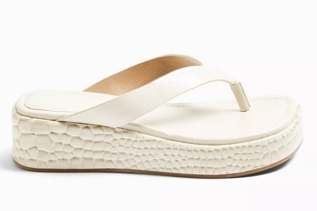 topshop shoe sale, topshop flip flop, white chunky flip flop