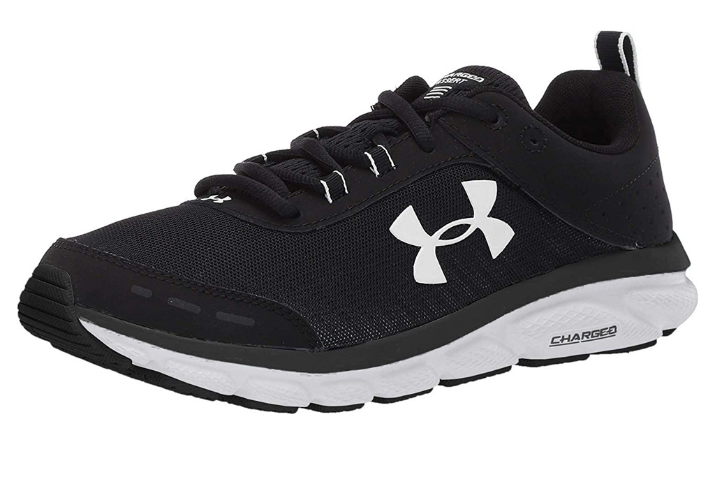 under armour, running shoes, black, white