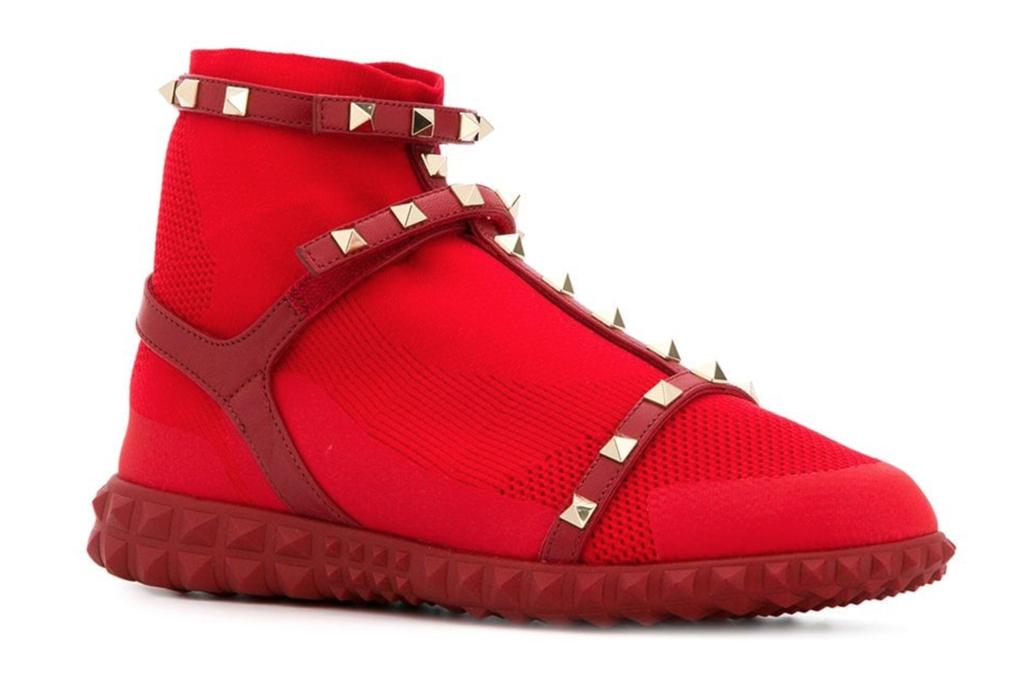 valentino, garavani, sneakers, rockstud, red