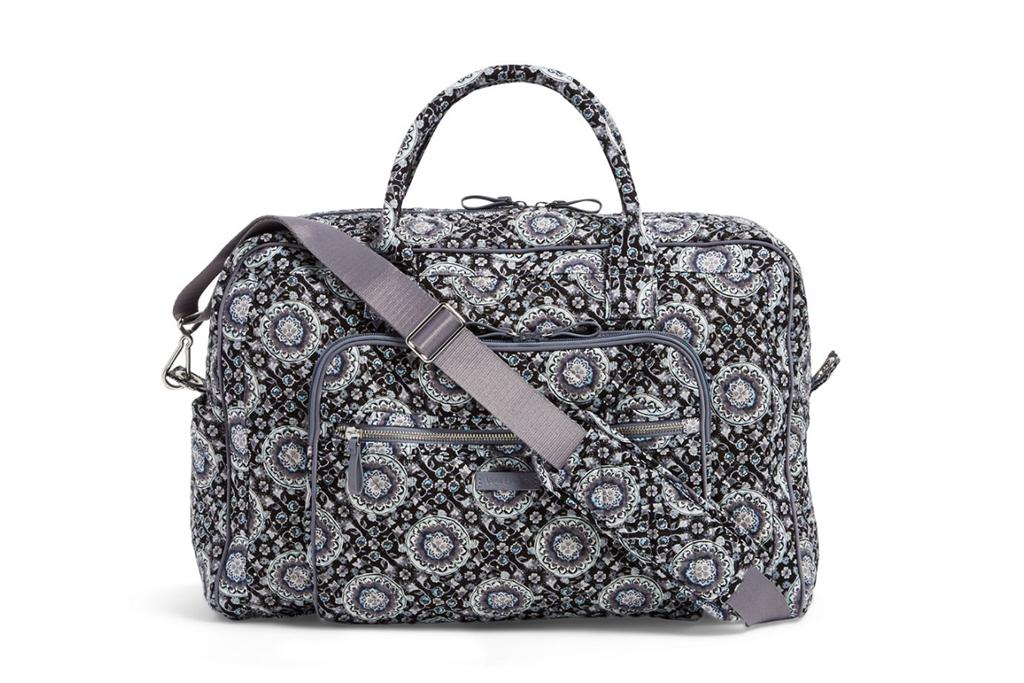 vera bradley sale, vera bradley weekender travel bag, black and white bag