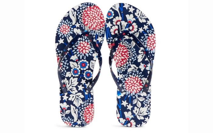 vera bradley flip flops, vera bradley shoes, red white and blue flip flops