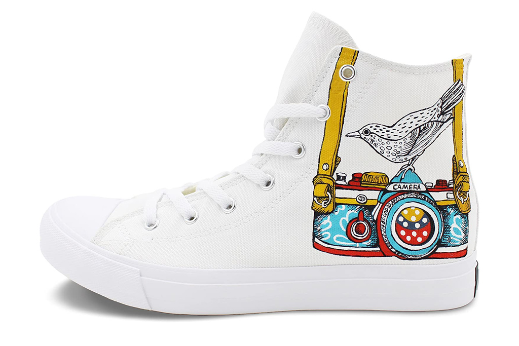 wen fire, hand painted, sneakers