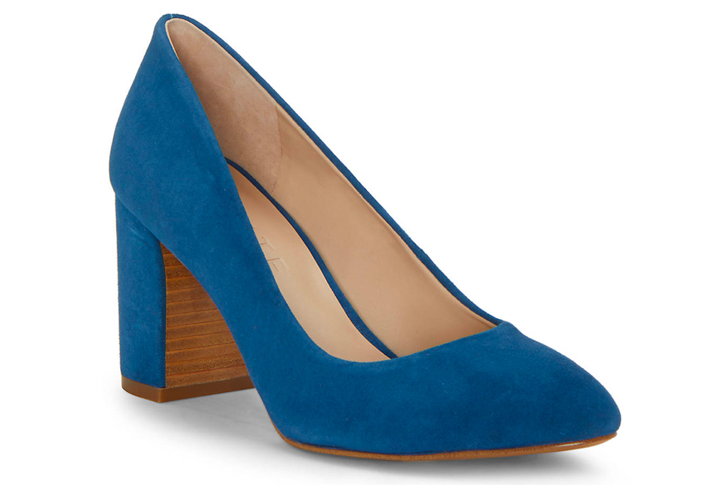 pumps, blue pumps, suede