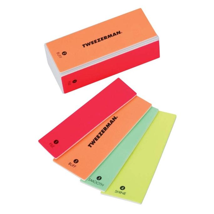 Tweezerman Neon Hot 4-in-1 File, Smooth & Shine Block, best nail buffers